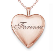 Rose Gold Plated  Forever  Heart Photo Locket