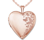 Rose Gold Plated  Butterflies  Heart Photo Locket
