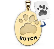 Personalized Oval Paw Print Medal
