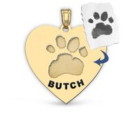 Personalized Heart Shape Paw Print Medal