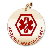 Medical Round Adrenal Insufficiency Charm or Pendant