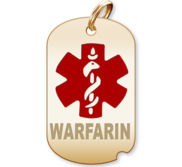 Dog Tag Warfarin Charm or Pendant