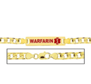 Men s Warfarin Curb Link Medical ID Bracelet