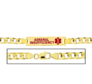 Men s Adrenal Insufficiency Curb Link Medical ID Bracelet