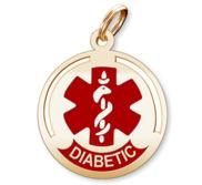Round Diabetic Charm or Pendant