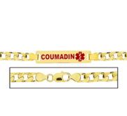 Men s Coumadin Figaro Link Medical ID Bracelet