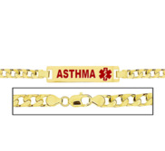 Women s Asthma Curb Link Medical ID Bracelet