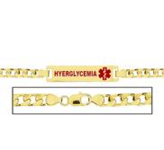 Women s Hyperglycemia Curb Link Medical ID Bracelet