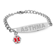 Stainless Steel Women s Asthma Medical ID Bracelet