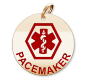 Medical Round Pacemaker Charm or Pendant