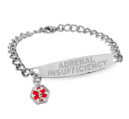 Stainless Steel Women s Adrenal Insufficiency Medical ID Bracelet