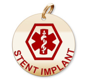 Medical Round Stent Implant Charm or Pendant