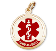 Round Food Allergies Pendant or Charm