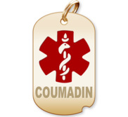 Dog Tag Coumadin Charm or Pendant