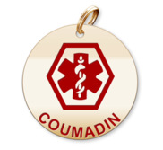 Medical Round Coumadin Charm or Pendant