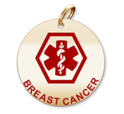 Medical Round Breast Cancer Charm or Pendant