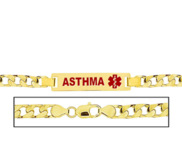 Men s Asthma Curb Link Medical ID Bracelet
