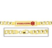 Men s Hyperglycemia Curb Link Medical ID Bracelet