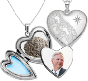 Sterling Silver Foot Print Cremation   Hair Photo Locket