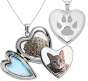 Cat Paw Print Cremation   Hair Photo Locket