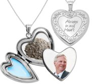 Always in my Heart  Cremation   Hair Photo Locket