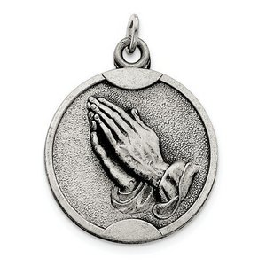 Sterling Silver Antiqued Praying Hands Pendant