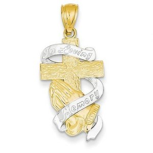 14K Yellow Gold Rhodium Plated In Memory of Cross