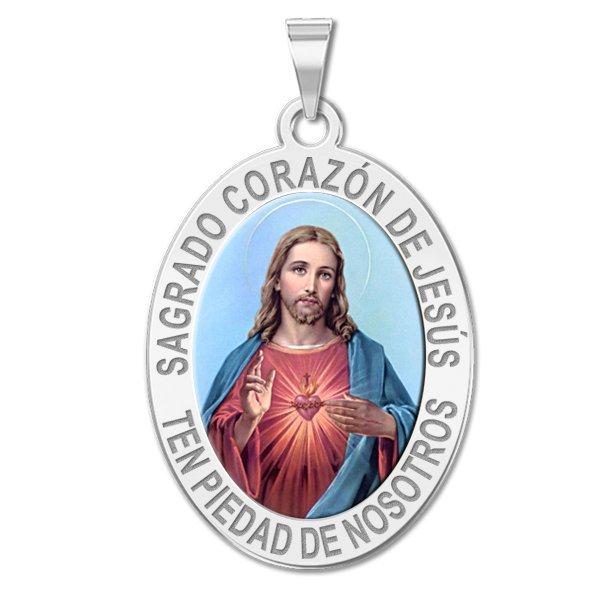 Sagrado Corazon de Jesus Medalla religiosa oval en color - PG90884