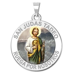 San Judas Tadeo Round Religious Color Medal   EXCLUSIVE