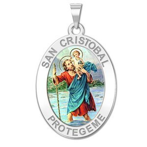 San Cristobal OVAL Color Religious Medal   EXCLUSIVE