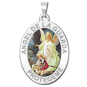 Angel De La Guarda Oval Color Religious Medal   EXCLUSIVE
