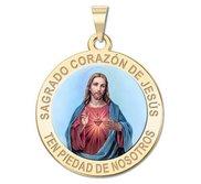 Sagrado Corazon de Jesus Medalla religiosa redonda en color