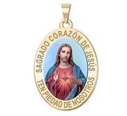 Sagrado Corazon de Jesus Medalla religiosa oval en color
