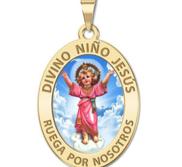 Divino Nino Jesus Oval Religious Color Medal