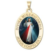 Divina Misericordia Jesus Color Oval Religious Medal  EXCLUSIVE