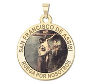 San Francisco de Assisi Round Religious Color Medal  EXCLUSIVE