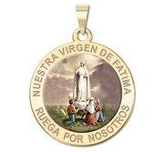 Nuestra Virgen de Fatima Religious Round Color Medal   EXCLUSIVE