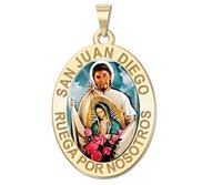 San Juan Diego OVAL Color Religious Medal   EXCLUSIVE
