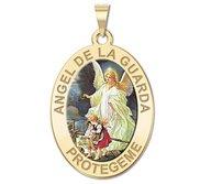 Angel De La Guarda Oval Color Religious Medal   EXCLUSIVE