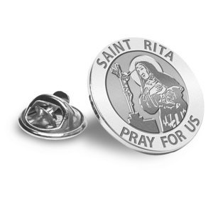 Saint Rita Religious Brooch  Lapel Pin   EXCLUSIVE