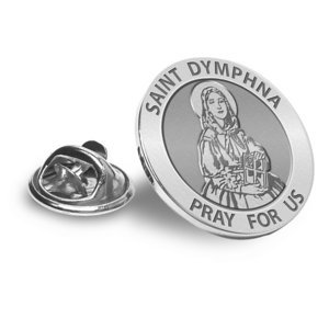 Saint Dymphna Religious Brooch  Lapel Pin   EXCLUSIVE