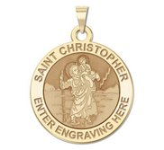 Personalized Saint Christopher Round Religious Medal    EXCLUSIVE