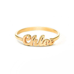 Petite Personalized Script Name Ring