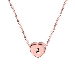 Petite Heart Initial Necklace with 16  Rolo Chain