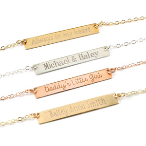 Custom Name Bar Necklace with 18  Chain