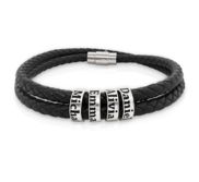 Black Leather Bracelet with Personalized Beads
