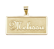 Script Style Horizontal Rectangle Name Necklace w  Box Chain