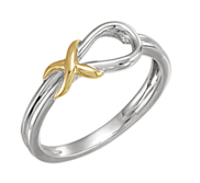 14K Two Tone Gold Love Knot Ring w  Engravable Band