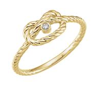 14K Yellow  025 CTW Diamond Rope Knot Love Ring