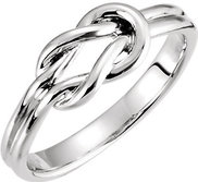 14K White Gold Love Knot Ring w  Engravable Band